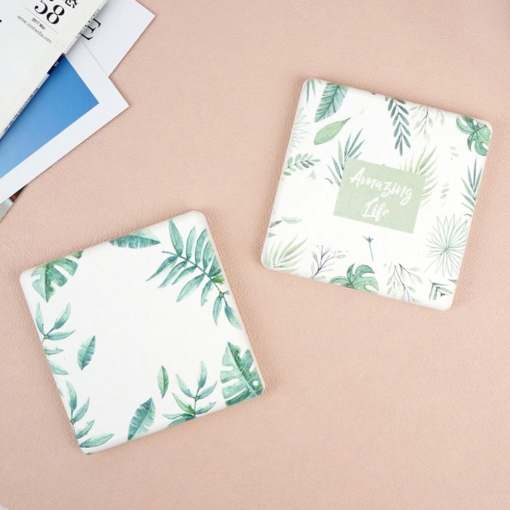 【Caldo卡朵生活】綠意盎然方形珪藻土吸水杯墊2入組