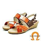 【GEORGE 喬治皮鞋】雲朵羊皮編織楔型涼鞋-橘