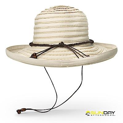 【美國Sunday Afternoons】女 抗UV透氣捲邊葡萄園帽 麻布白