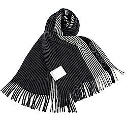 Calvin Klein CK 直條紋刺繡LOGO雙色針織圍巾-黑/白