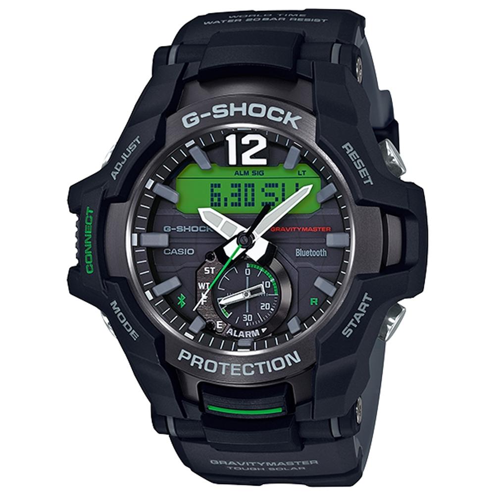 G-SHOCK 飛機儀表板概念太陽能藍牙錶(GR-B100-1A3)-黑x綠/53.8mm