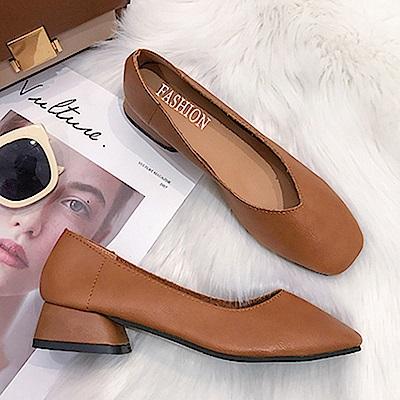 KEITH-WILL時尚鞋館 甜心舒適通勤亮面粗跟鞋-焦糖色