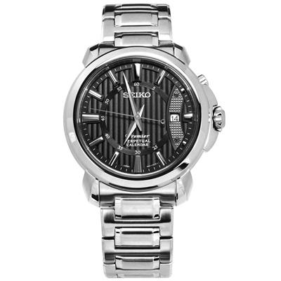SEIKO 精工 Premier 藍寶石水晶 萬年曆 日本製造 不鏽鋼手錶-黑色/41mm