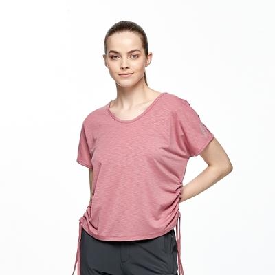 【HAKERS 哈克士】女 抗UV吸排V領抽繩上衣(莓紅)