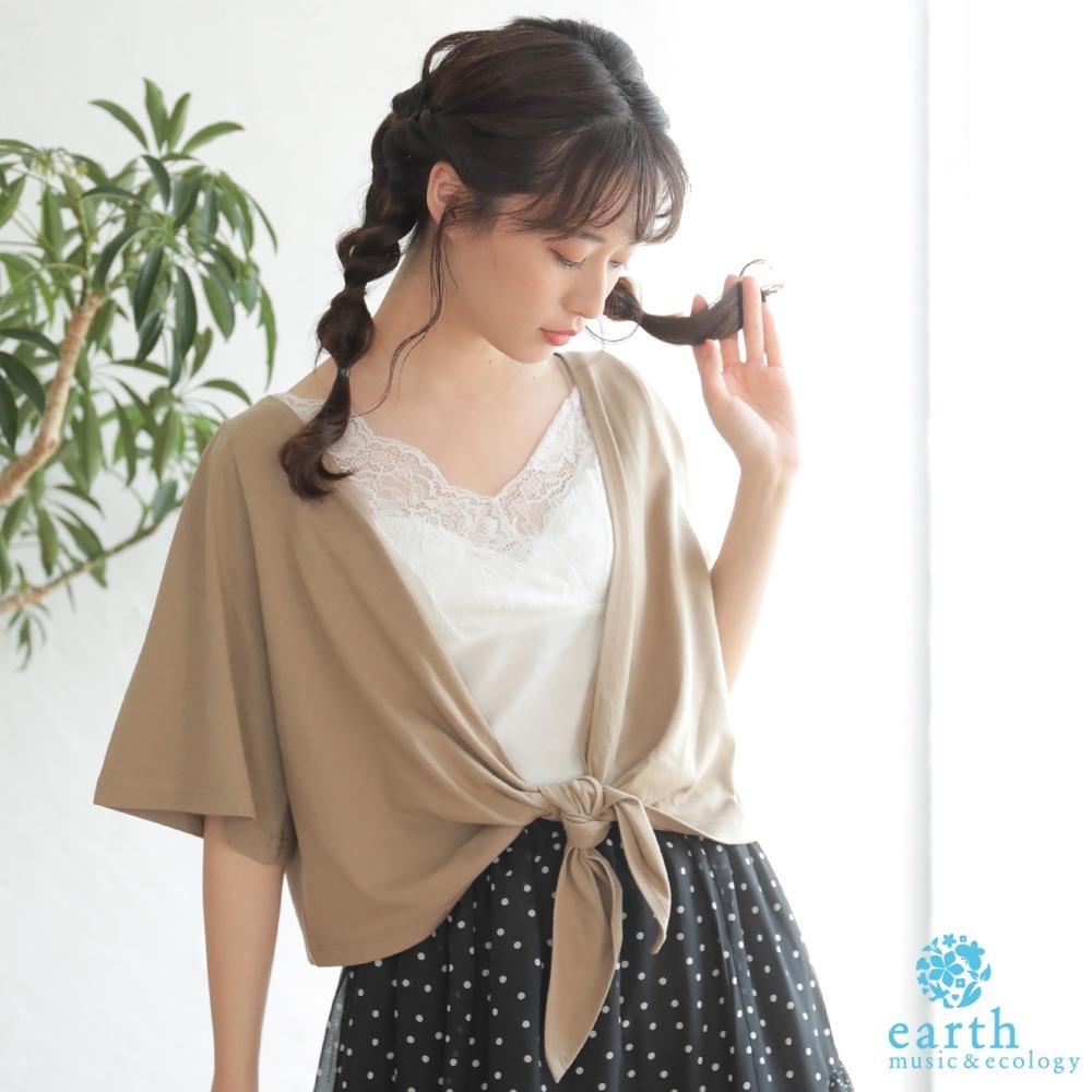 earth music 【SET ITEM】蕾絲拼接背心+短版開襟綁結罩衫