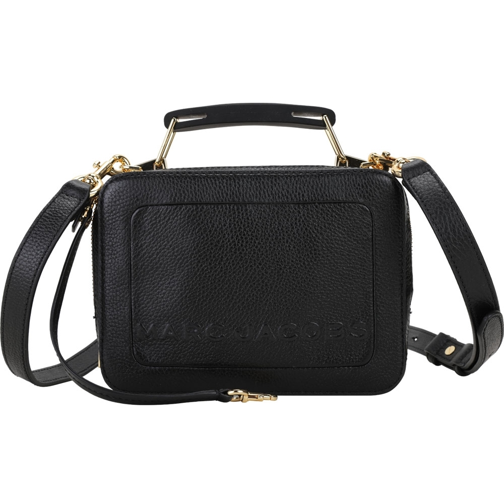 MARC JACOBS THE BOX 20 荔紋牛皮雙拉鍊手提/肩背包(黑色)