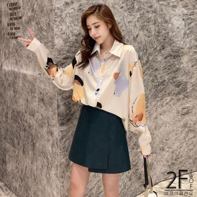 2F韓衣-不規則圖案造型襯衫
