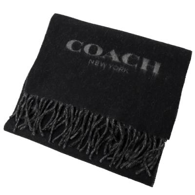COACH LOGO流蘇羊毛長型圍巾(黑灰)