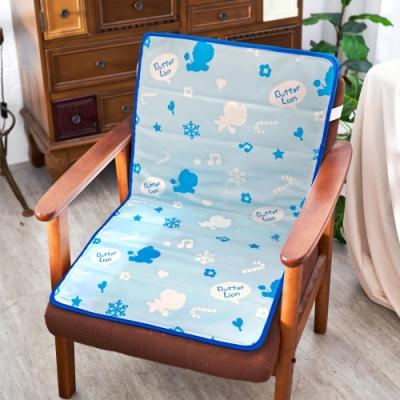 奶油獅 雪花樂園-長效型降6度涼感冰砂冰涼墊/辦公L型坐墊80x45cm -藍色