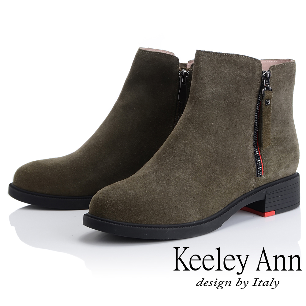 Keeley Ann 率性街頭~百搭素面側邊拉鏈短靴(綠色-Ann)