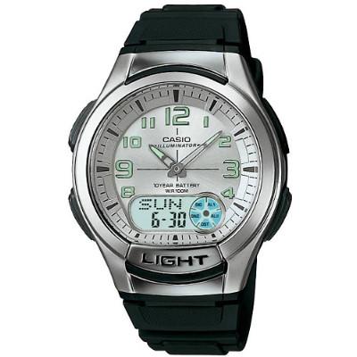 CASIO 時尚雙顯商務休閒錶-銀白/膠帶(AQ-180W-7B)/41mm