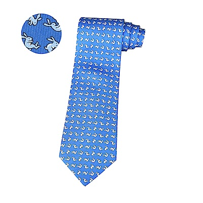 HERMES愛馬仕CABRIOLES經典緹花LOGO兔子設計蠶絲領帶(藍)