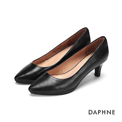 達芙妮DAPHNE 高跟鞋-霧面真皮百搭高跟鞋-黑