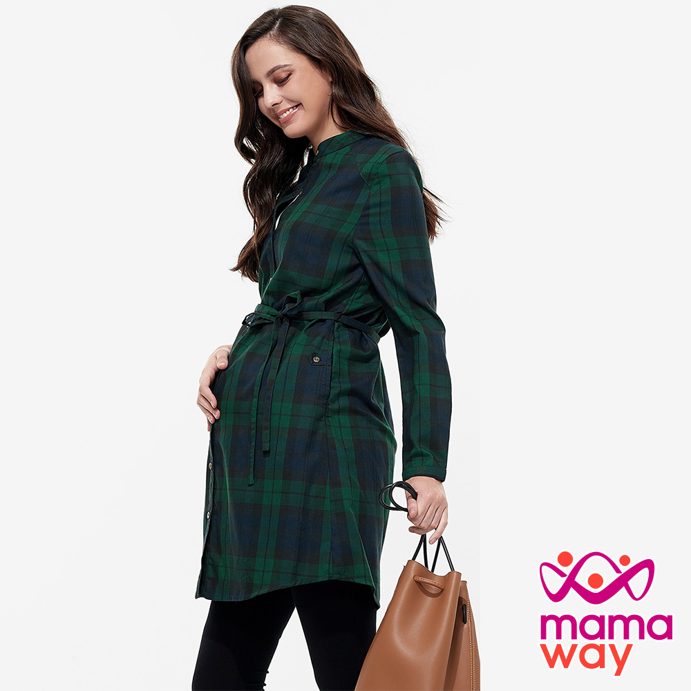 mamaway媽媽餵 經典格紋孕哺洋裝 (共兩色)
