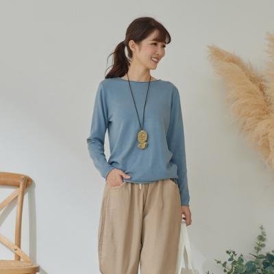 慢 生活 親膚內襯薄毛衣- 藍/杏