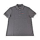PRADA經典橡膠LOGO黑白設計純棉短袖POLO衫(鐵灰)