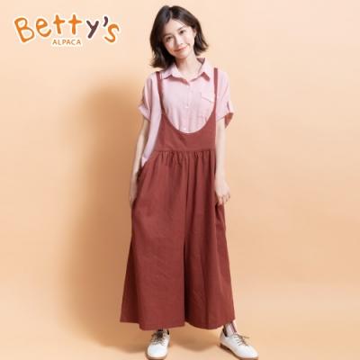 betty's貝蒂思 韓系休閒寬版吊帶褲(暗紅)