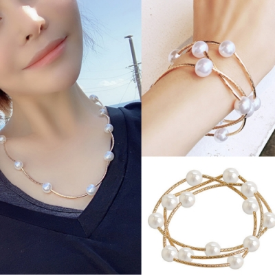 I.Dear飾品-網紅氣質款時尚珍珠串多層次兩用途項鍊手鍊la248