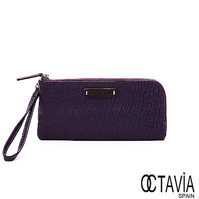OCTAVIA8 真皮 - 隨心所欲 ensoen經典 L型牛皮可置手機手挽長夾-欲望紫