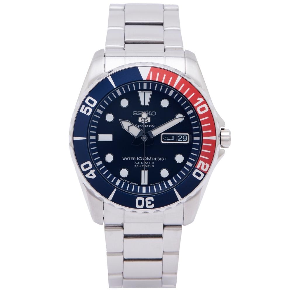 SEIKO SPORTS款機械手錶(SNZF15J1)-黑面X藍、紅色框/40mm