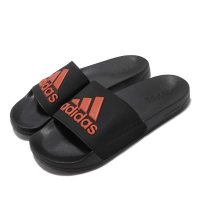 adidas 涼拖鞋 Adilette Shower 男女鞋 愛迪達 輕便 舒適 簡約 大logo 黑 橘 EE9015