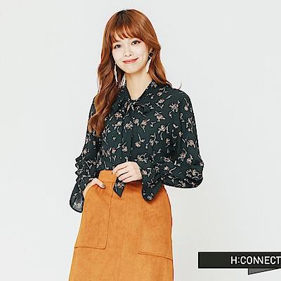 H:CONNECT 韓國品牌 女裝-碎花綁結縮口袖上衣-綠