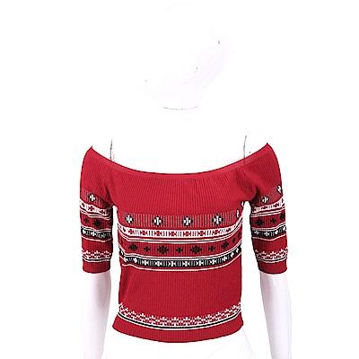RED VALENTINO 平肩設計紅色圖騰羅紋針織上衣