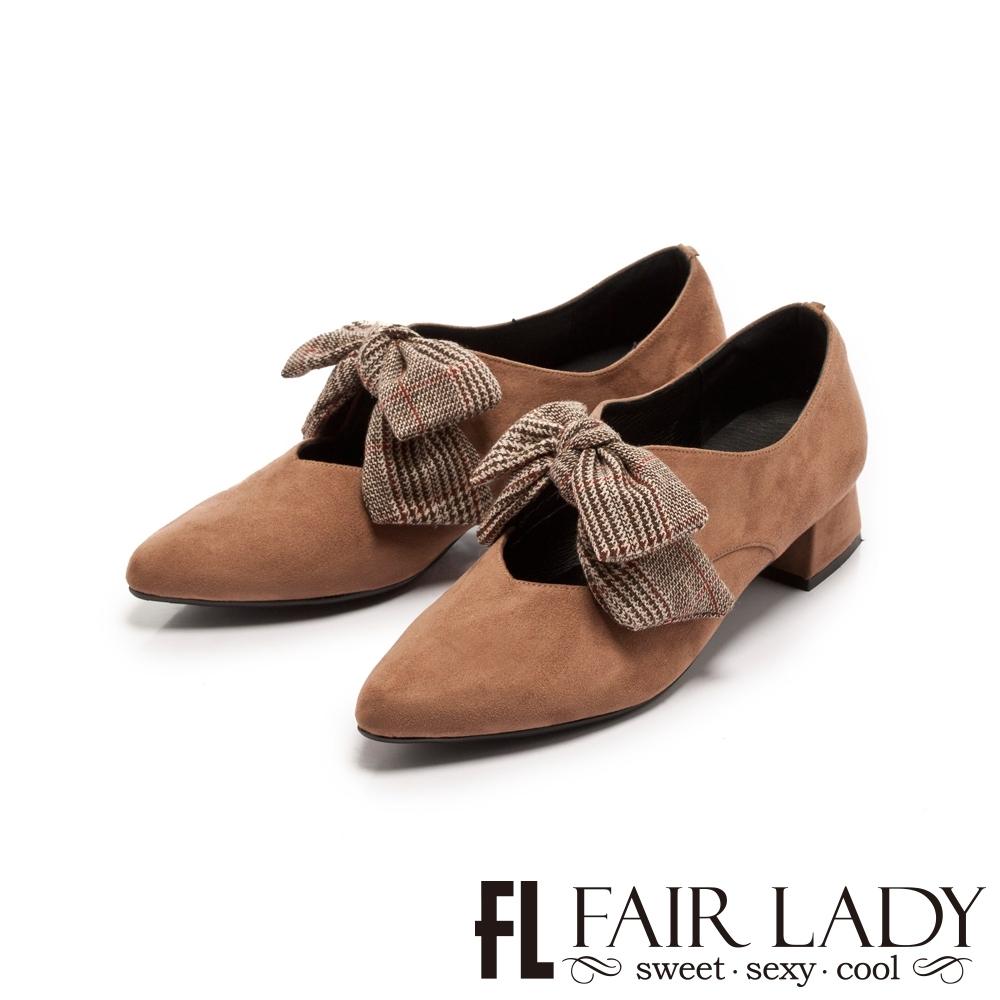 Fair Lady 格紋蝴蝶結瑪莉珍尖頭低跟鞋 可可