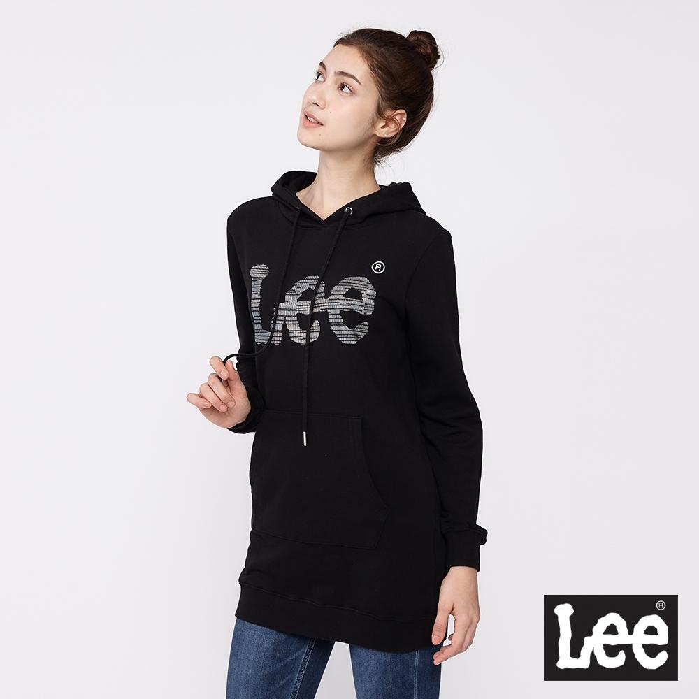 Lee 帽T 銀箔Logo 長版連帽厚T 女款 黑色