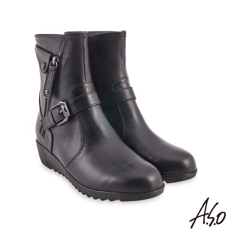 A.S.O 時尚流行 時尚流行鉚釘穿條個性短靴-黑