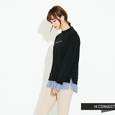 H:CONNECT 韓國品牌 女裝-下擺拼接立領造型上衣-黑
