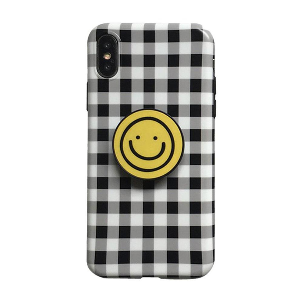 【TOYSELECT】iPhone 6/6s Plus 格紋笑臉氣囊支架手機殼:黑白