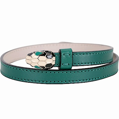 BVLGARI Serpenti Forever 經典蛇頭小牛皮雙圈手環(翡綠)