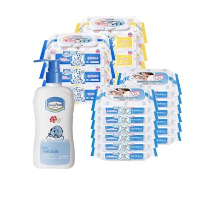 限定貝恩Baan 嬰兒保養柔濕巾80抽6入+20抽12入+貝恩Baan 嬰兒沐浴精/200ml*1