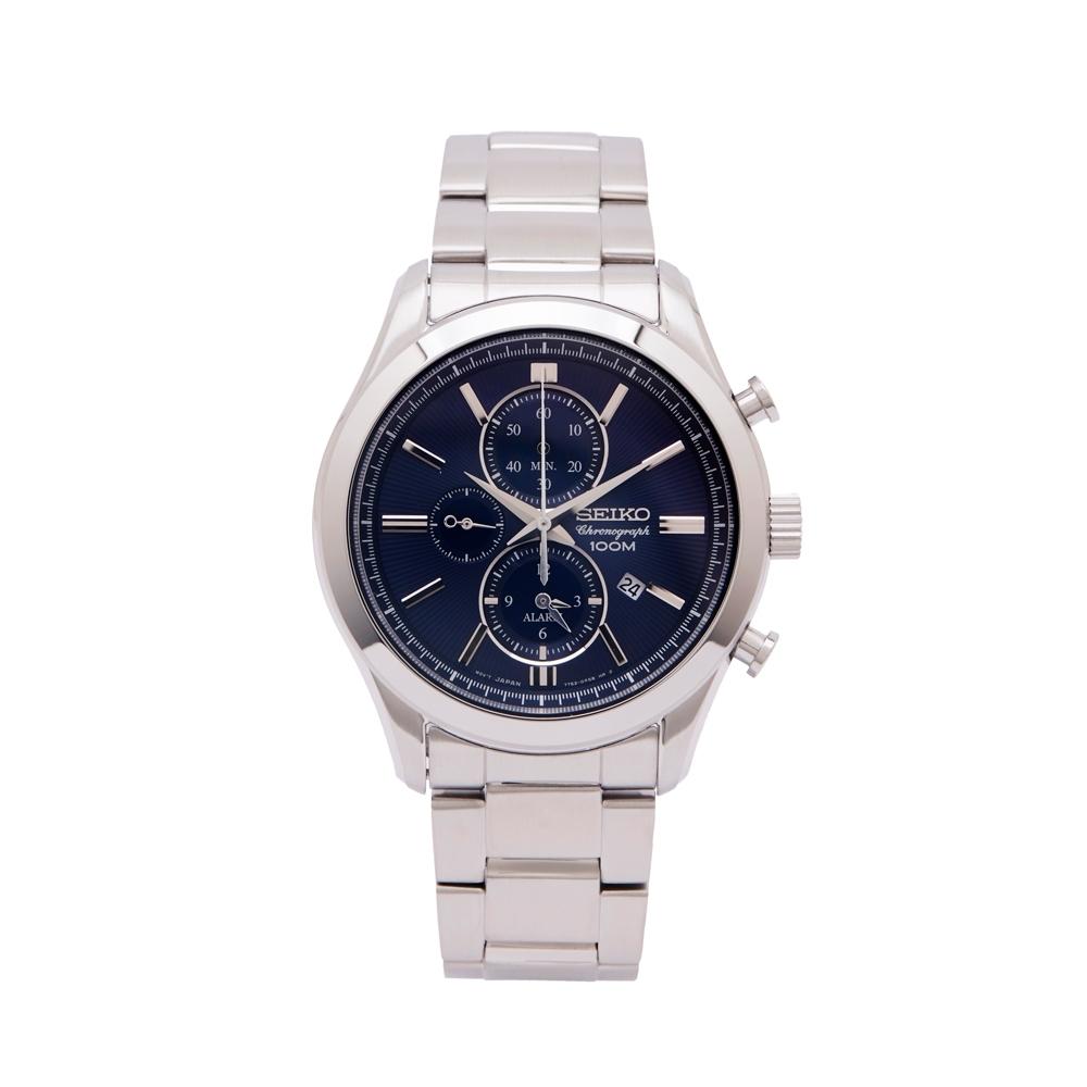 SEIKO 極致男人味三眼計時手錶(SNAF65P1)-藍色面x銀色/43mm