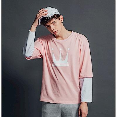 DADA SUPREME 皇冠八分袖運動假兩件上衣-男款-粉紅
