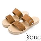 GDC-春夏簍空細緻波浪側扣飾一字拖鞋-土黃色