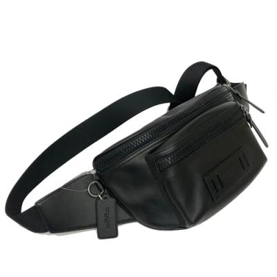 COACH 全牛皮肩斜背中性兩用腰包/胸前包男款(黑)