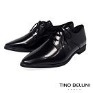 Tino Bellini義大利進口細緻質感牛皮綁帶皮鞋_黑