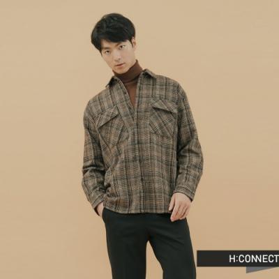 H:CONNECT 韓國品牌 男裝-復古格紋雙口袋襯衫-棕