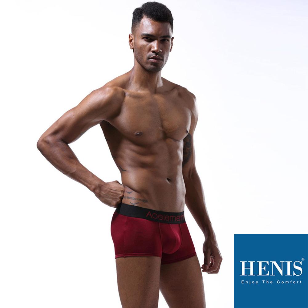 HENIS 經典純色 時尚貼身彈性四角褲(棗紅)