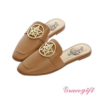 Grace gift-美少女戰士變身器飾釦平底穆勒鞋 棕