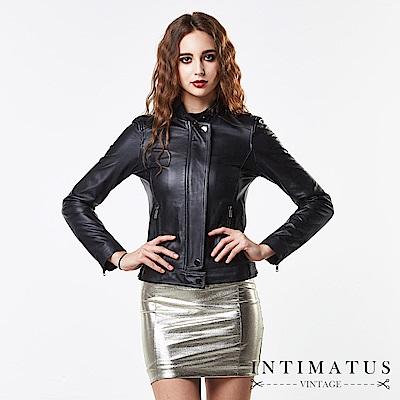 INTIMATUS 真皮 高雅立領拉鍊短版小羊皮皮衣 經典黑