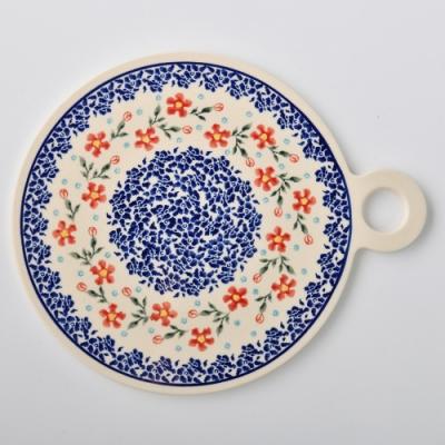 波蘭陶 藍印紅花系列 圓形呈菜盤 22.8x27.5 cm 波蘭手工製