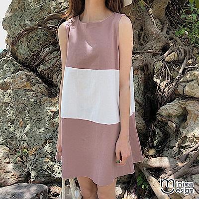 後深V綁帶拼色無袖連身洋裝 粉色-mini嚴選