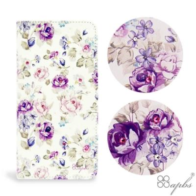 apbs iPhone XS / iPhone X 兩用施華彩鑽磁吸手機殼皮套-紫薔薇
