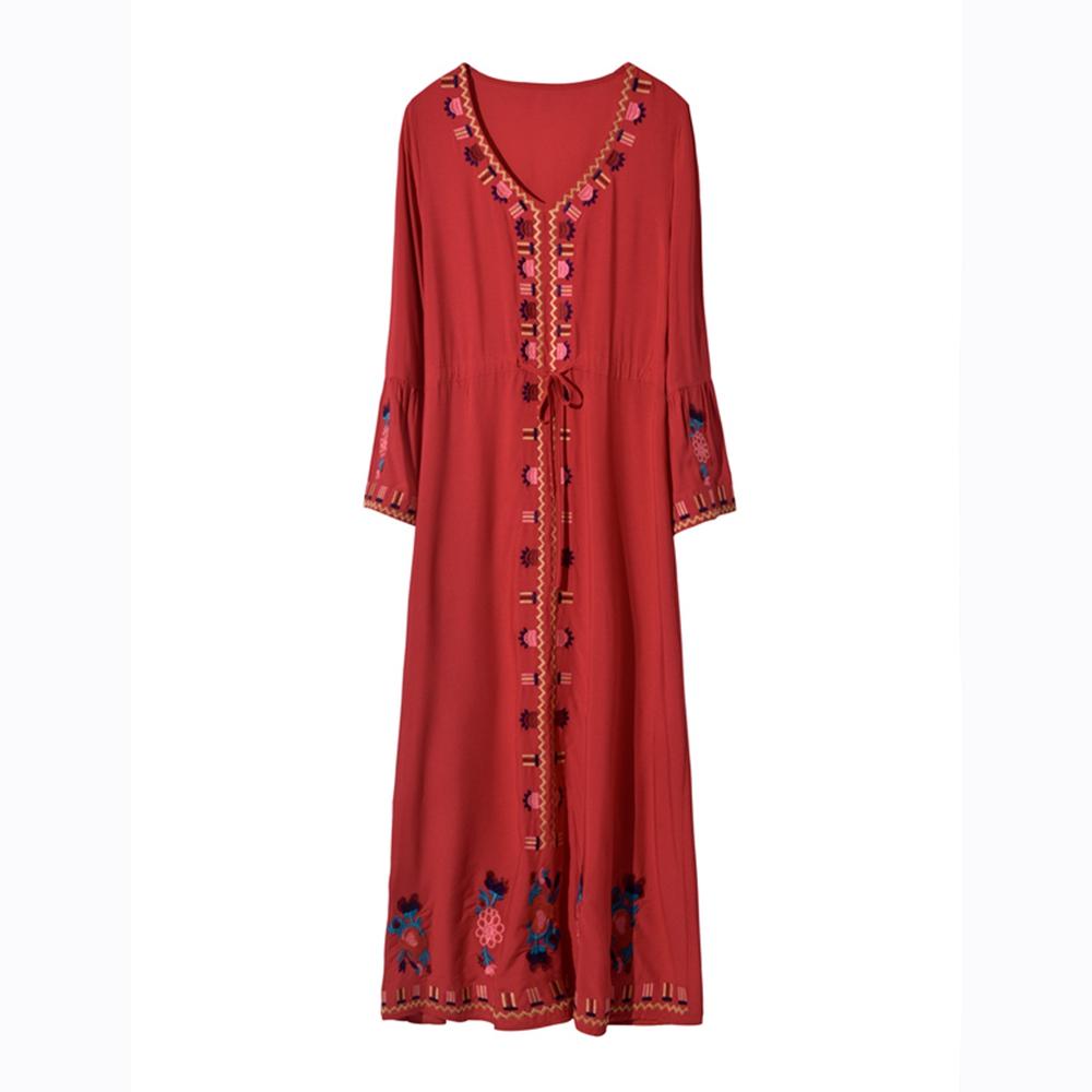波希米亞風復古民族刺繡洋裝S-XL(共三色)-維拉森林