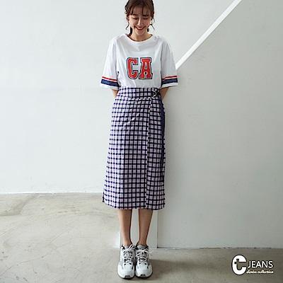 CANTWO JEANS印花長Tx格紋裙兩件式洋裝-共兩色
