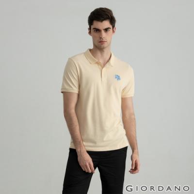 GIORDANO  男裝簡約刺繡馬頭POLO衫 - 07 沙殼卡其