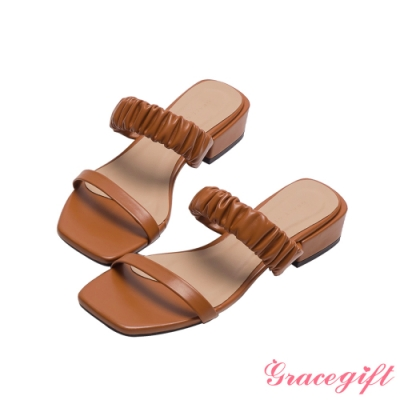 Grace gift-雙帶方頭低跟涼拖鞋 棕